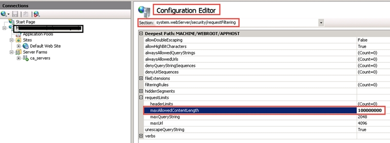 Tip: IIS Setting for Upload Files in Cognos Analytics